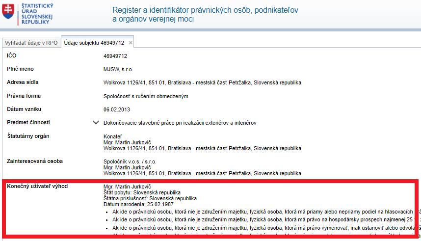 screenshot webstránky statistics.sk - konečný užívateľ výhod